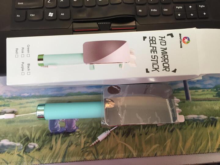 炫淘  自拍杆线控大镜面手机拍照自拍神器 适用于苹果/华为/VIVO/OPPO/小米 马卡龙清新大镜子自拍杆-绿色 晒单图