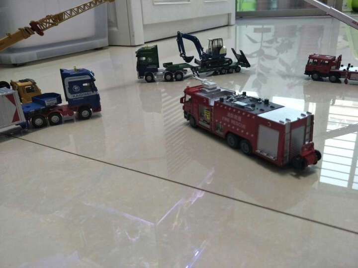 凯迪威挖掘机合金车模仿真模型汽车模型玩具车工程建筑军事模型玩具套装 坚固耐摔 平板拖车带挖掘机 晒单图