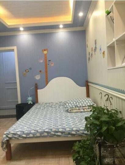 怡美达 床实木床单人床1.2米床欧式床1.5米1.8米双人床 白色床(送床垫) 1.5*2米 晒单图