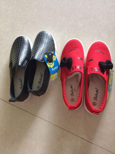 环球童鞋 女儿童休闲鞋男童女童皮鞋套脚懒人鞋韩版运动潮鞋 白色 25码/175外长/160内长 晒单图