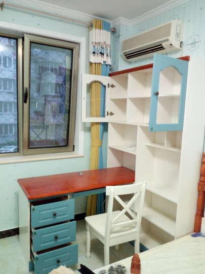 木香邻 书架书柜组合 地中海书桌美式儿童书桌电脑桌台式家用直角转角书桌转角电脑桌 可伸缩书桌书架组合+边柜+椅子 1.6M电脑桌(蓝白两色可选) 晒单图
