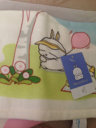 三利流氓兔纯棉印花纱布中巾 AB版柔软洗脸面巾 婴儿可用 25×50cm/2条装 晒单图