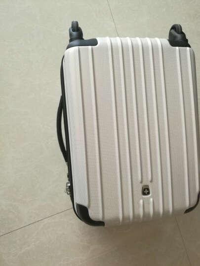瑞动(SWISSMOBILITY)拉杆箱PC+ABS时尚轻盈登机箱旅行行李箱20英寸万向轮MT-5553-38T00白底金银布纹 晒单图