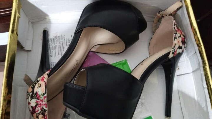 漫翠莎高跟鞋女2019新款细跟性感鱼嘴高跟女鞋 粉红色(花纹) 36 晒单图