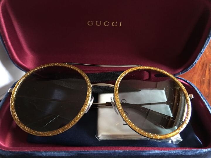 GUCCI 古驰 eyewear 太阳镜女 复古圆框墨镜 金属镜架 GG0061S-004 金色镜框灰蓝镜片 56mm 晒单图