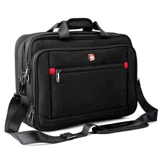 瑞士军刀SWISSGEAR电脑包旅行包男女通用公文包商务手提单肩包斜挎包可放15寸电脑 2103黑色小的(14寸) 晒单图