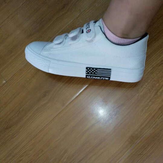 2018韩版帆布鞋女魔术贴低帮平底学生休闲鞋 白色 37 晒单图