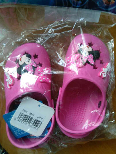 迪士尼 DISNEY 儿童拖鞋 男女童沙滩鞋 洞洞鞋 99桃红16 晒单图