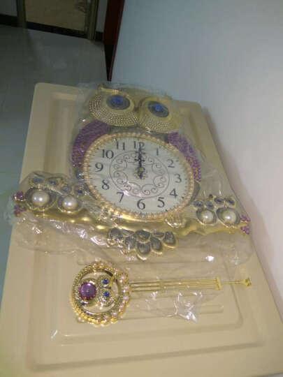 英伦欧堡 韩式猫头鹰挂钟 欧式家居饰品创意钟表客厅墙面装饰挂件 银色/Y-PC031Y 晒单图