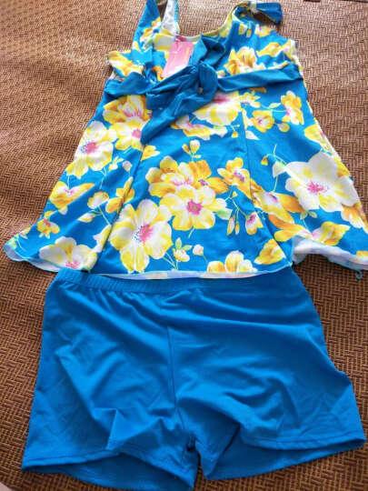 缘脉游泳衣女式分体遮肚显瘦裙式平角大花保守大码泳装女 天蓝色 XL105-130斤 晒单图