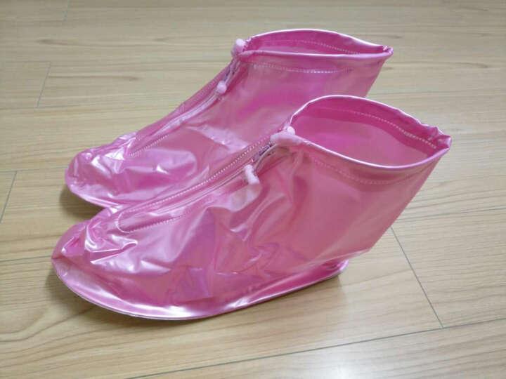 图跃(TUYUE)户外防雨鞋套男女加厚底雨鞋 雨天防水鞋套 防滑雨靴套 平底粉36-39 晒单图