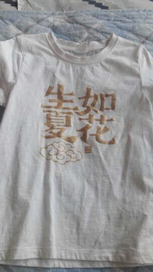 小猪班纳童装男女童体恤中大童纯棉圆领上衣儿童短袖t恤时尚亲子 瓷器白(生如夏花) 170/88A 晒单图