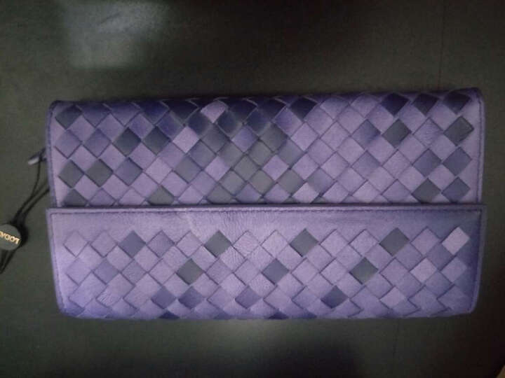 乐代真皮女包新款高品质羊皮革编织小钱包手拿晚宴包 心弦 紫色 渐变 晒单图
