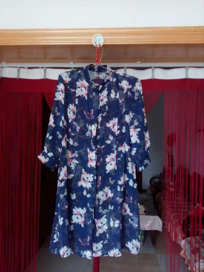 美人街夏装新款雪纺衫女开衫外搭防晒衣外套中长款印花七分袖宽松衬衫女薄款 蓝底蝴蝶花 XL 晒单图