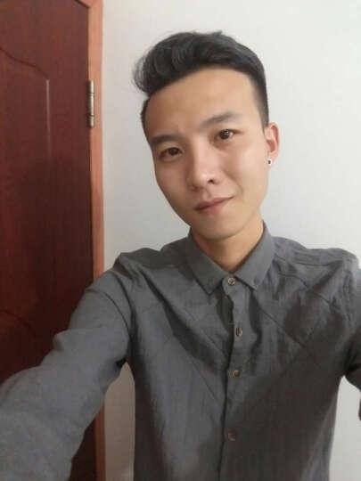 韵之程 长袖衬衫男修身2018夏季纯色条纹衬衣男英伦风潮流男士打底衫 黑色 L 晒单图