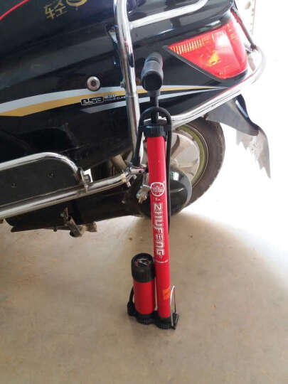 Bee 高压家用死飞自行车电瓶电动车山地车公路车摩托车汽车篮球打气筒 包邮 红色带表 晒单图