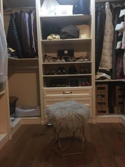 阿洛古斯 现代简约北欧小户型时尚梳妆椅梳妆凳子白色长毛凳子椅子卧室凳床头凳化妆凳床尾凳 白色长毛金色脚 晒单图