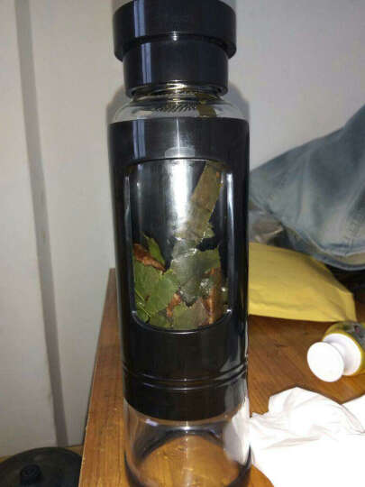 【2件9折】卡西菲玻璃杯水杯 男女学生玻璃茶杯 耐热耐摔防漏茶水分离杯子 泡茶送礼商务佳品 绅士黑 小号430ML 晒单图