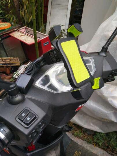 一口米摩托车手机支架骑行装备电动车配件电动车手机支架踏板车手机导航支架电动车后视镜款四爪手机支架 绿色 晒单图