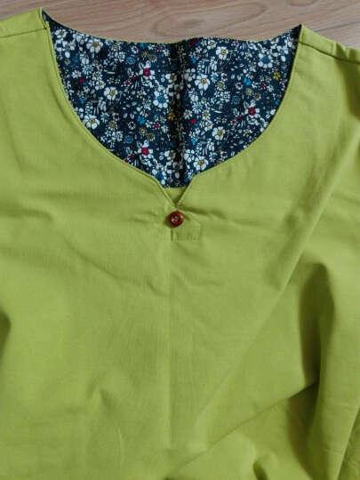 利绅狐短袖T恤男2018夏季新款纯棉半截袖纯色小衫V领半袖上衣服男装打底衫体恤 绿色 XXXL 晒单图