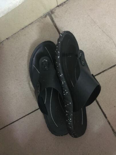 意尔康男鞋夏季新款透气凉鞋男时尚潮流人字拖休闲男士沙滩鞋7342ZS97800W 黑色 39 晒单图