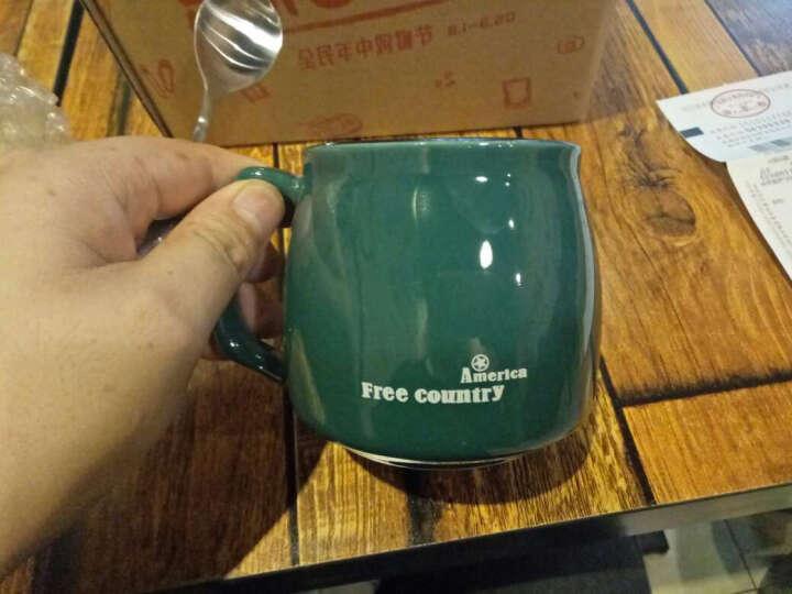 瓷魂 创意早餐陶瓷马克杯情侣咖啡杯牛奶杯带盖带勺办公杯水杯子 绿色美利坚 晒单图