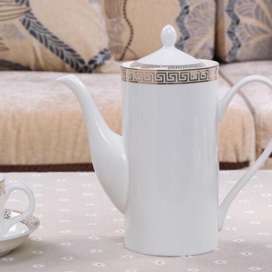 格丽油画 格丽 骨瓷咖啡具 15头咖啡杯碟壶套装金色世界皮箱礼盒包装 星巴克摩卡雀巢咖啡杯 15头红金圈 晒单图