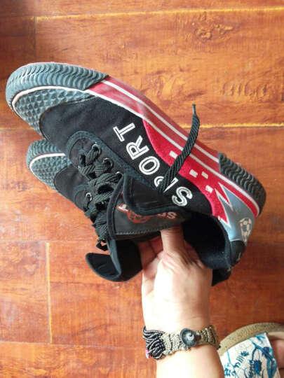 双星DSA061 星火男女足球鞋复古款帆布碎钉球鞋青少年训练鞋 黑红 240/38 晒单图