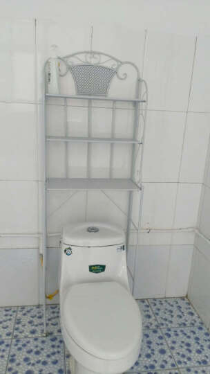 忆凡 浴室洗衣机置物架铁艺马桶架层架卫生间置物架脸盆落地收纳架调节 厕所马桶架花架 白色 晒单图