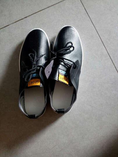 男鞋休闲鞋男春夏新款豆豆鞋板鞋商务休闲皮鞋子男透气潮鞋透气洞洞男鞋 K850款黑色 40 晒单图
