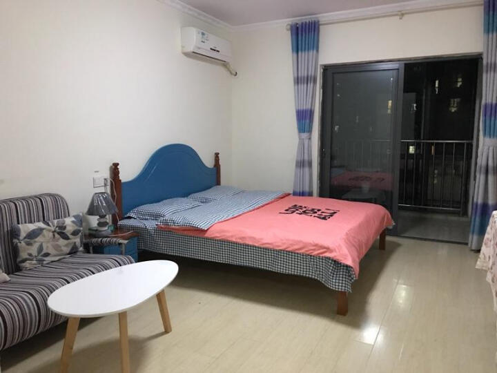 怡美达 床实木床单人床1.2米床欧式床1.5米1.8米双人床 蓝棕色床(送床垫) 1.5*2米 晒单图
