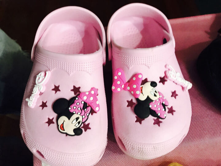 迪士尼 DISNEY 儿童拖鞋 男女童沙滩鞋 洞洞鞋 99粉红16 晒单图