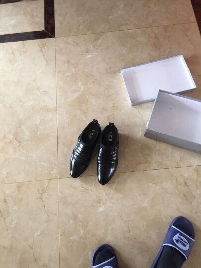 商务正装皮鞋韩版尖头皮鞋男皮鞋高跟商务休闲皮鞋懒人套脚男鞋 加绒棕色 40 晒单图