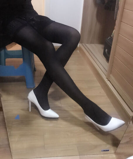 浪莎丝袜50D80D120D春秋冬季天鹅绒连裤袜中厚肉色连体打底袜子女防勾丝长筒袜薄款 50D黑色半透肉 晒单图