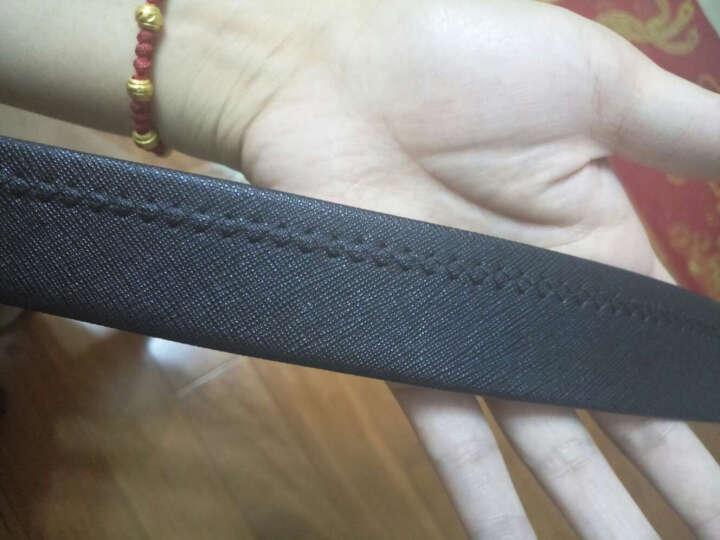 红谷HONGU男士皮带休闲牛皮钢扣针扣男士腰带礼盒装 H23104920漆黑 晒单图