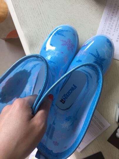 迪士尼 Disney 儿童雨鞋 男女童小学生中筒防滑胶鞋大小童雨靴 16180 冰雪蓝34码/内长22.4cm 晒单图
