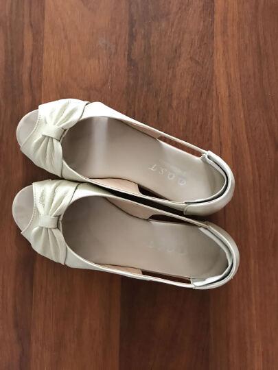 世珍鹰 2018夏季新款凉鞋真皮镂空妈妈鞋平底坡跟中老年大码女鞋鱼嘴女鞋 红色 38 晒单图