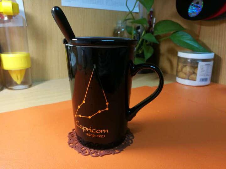 布丁瓷艺 创意十二星座马克杯牛奶杯陶瓷杯子男女士情侣水杯咖啡杯带盖勺 摩羯座(黑) 晒单图