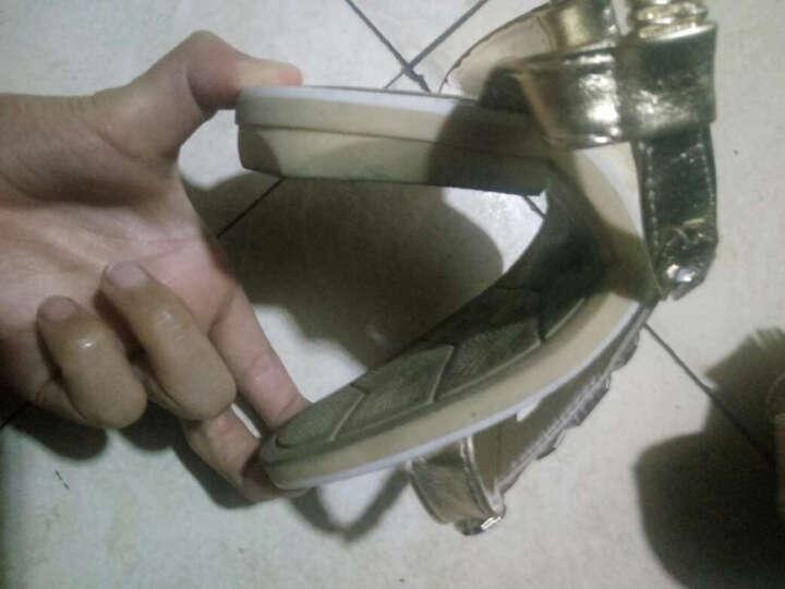 比米熊2017夏季儿童凉鞋女童公主鞋韩版女孩单鞋新款拖鞋学生表演鞋童鞋 金色 26码/内长16.0cm 晒单图