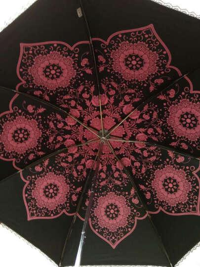 天堂伞防紫外线太阳伞印花轻便女士新款晴雨伞三折黑胶遮阳伞公主伞 碎花天空蓝 晒单图
