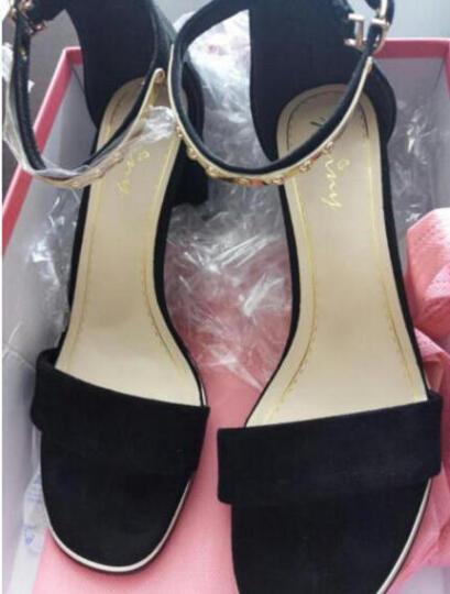 【限时秒杀 专柜正品】卓诗尼高跟凉鞋女粗跟2018夏季新款一字扣带简约百搭韩版女鞋 黑色 37 晒单图