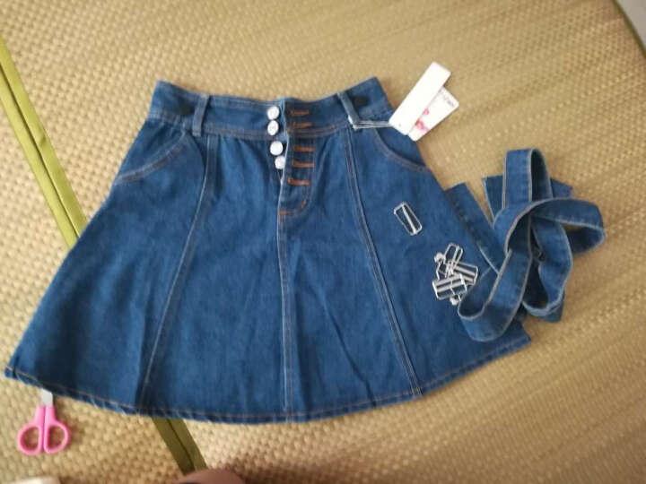 背带裙女牛仔半身时尚新款高腰显瘦伞裙可拆卸 深蓝色 M 晒单图