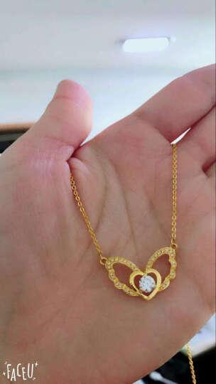 欧弗莱 黄金项链 女款 足金心形天使之翼吊坠套链 镶嵌项链 送女友送老婆生日礼物 现货立发 晒单图