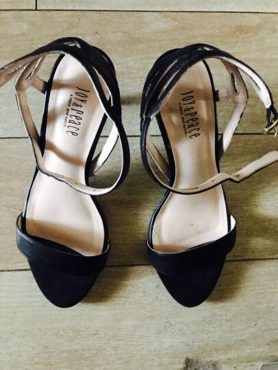 JoyPeace真美诗夏季专柜同款羊皮细跟女一字带凉鞋 黑色 37 晒单图