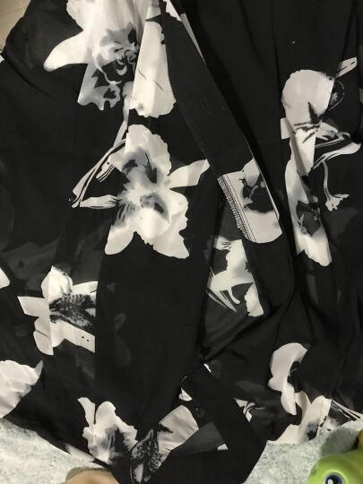 美人街夏装新款雪纺衫女开衫外搭防晒衣外套中长款印花七分袖宽松衬衫女薄款 黑底百合花 XXL 晒单图
