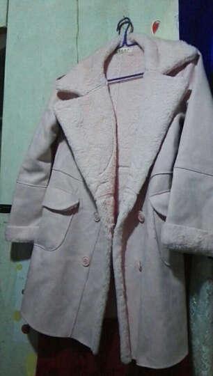茗黛莎 毛呢大衣女2018新款韩版中长款加厚毛呢外套女修身显瘦羊绒大衣女818 粉色1 M 晒单图