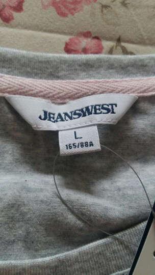 真维斯女装  夏装    弹性棉混纺圆领净色短袖T恤JW-62-273501 8640 海蓝色 M 晒单图