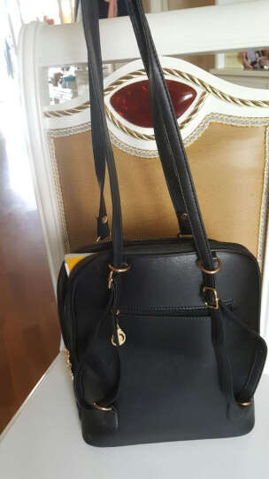 双肩包 2017新款女包韩版时尚PU皮两用背包女士旅行包包休闲书包潮 时尚黑色 晒单图