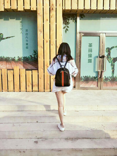 新款彩条双肩包女包时尚韩版背包女双肩百搭牛津布防水旅行背包 彩带黄色 晒单图
