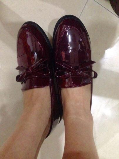 莱卡金顿单鞋2018小皮鞋粗跟漆皮女鞋时尚英伦风粗跟单鞋女流苏浅口工作休闲女鞋 酒红色 40 晒单图